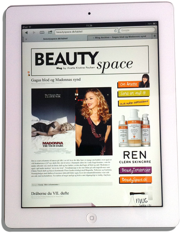 beautyspace on tablet